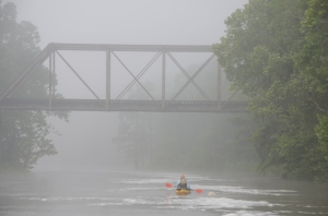 Paul DeLoach of the Flint Riverkeeper leads the way through a misty landscape in Albany.