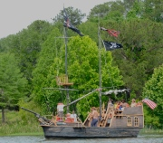 "A ""pirate's ship plies the water of the Flint near Bainbridge (a local festival was underway when we arrived)."