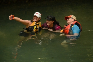 """Kathy Vaughn, Stacy Dounias and Kim Piper pose for a """"selfie"""" in Radium Springs."""