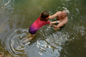 Steve Blackburn and his daughter Cate play in Radium Springs.