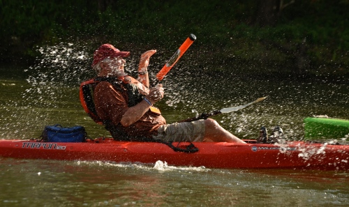With Fall Float taking place in the middle of the school year, the average age of Fall Float paddlers was  considerably higher than the summer verison of Paddle Georgia. That did not, however, keep some of the adults from acting like kids, including Joe Kidd.